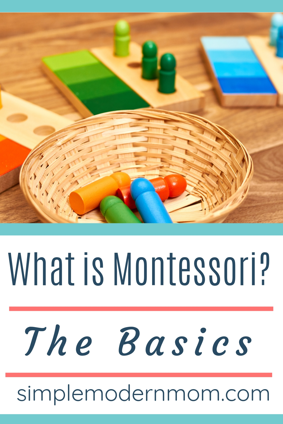 Colored, wooden montessori blocks with wicker basket on the floor