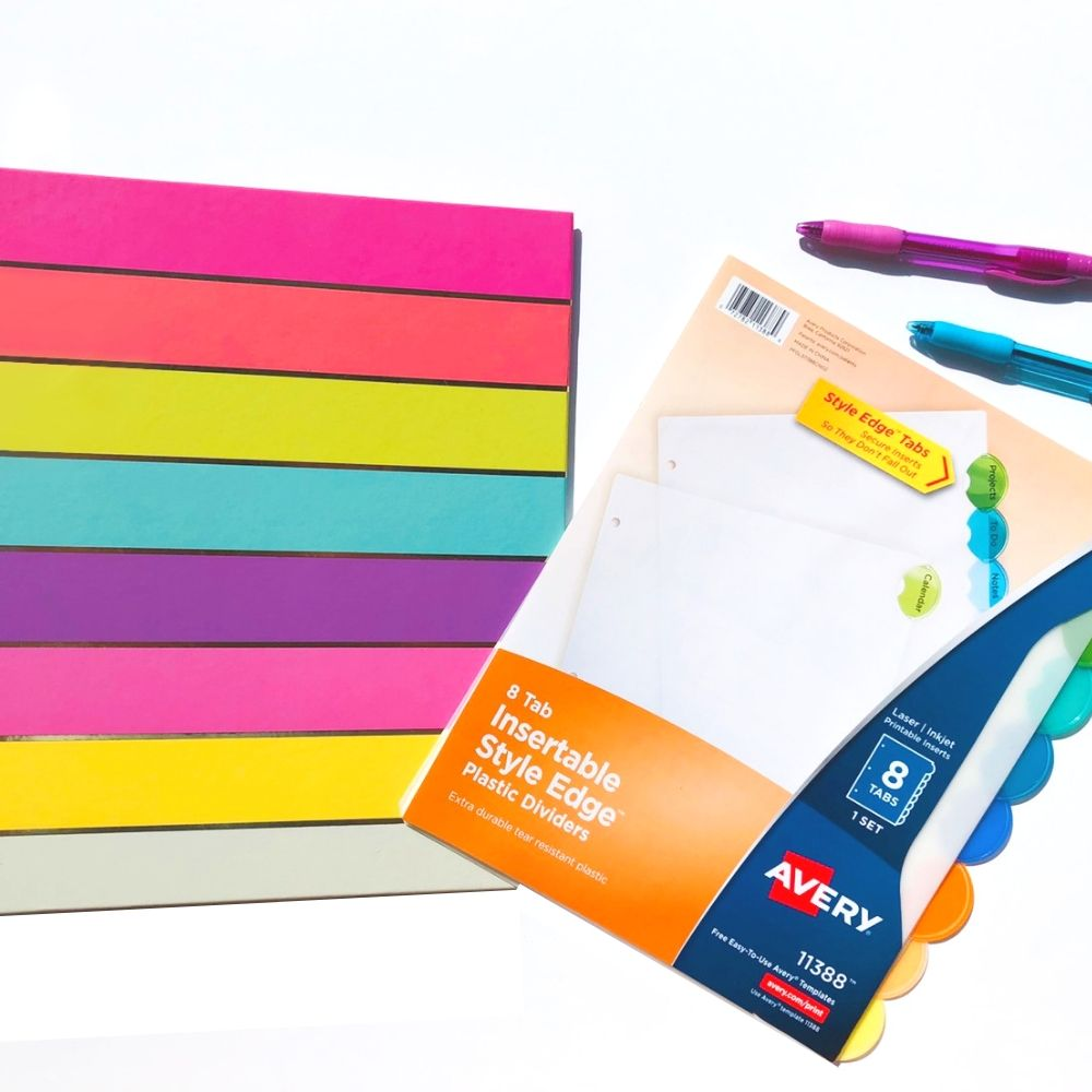 colorful binder with dividers and pens