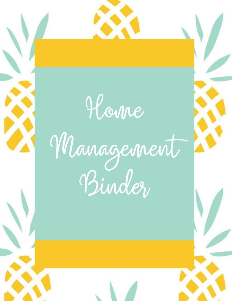 Home Management Binder with pineapple pattern background