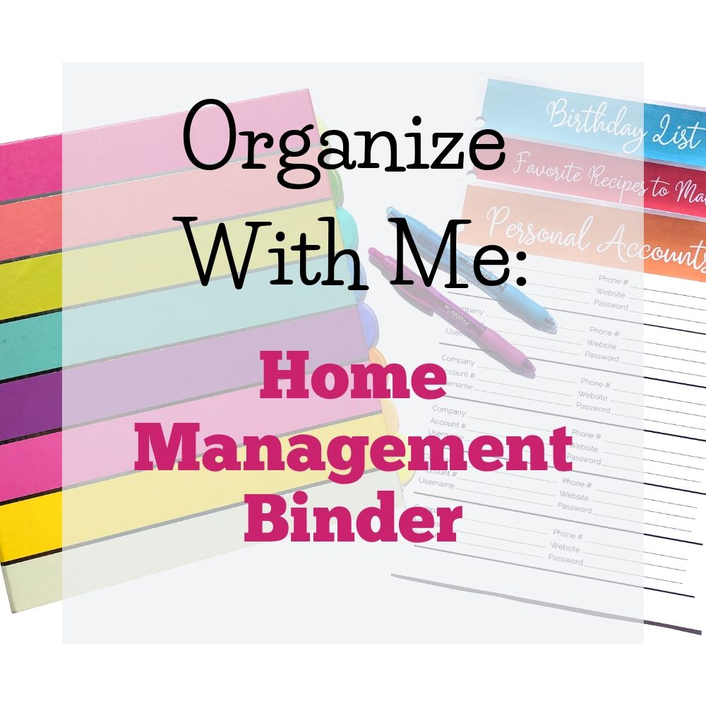 colorful binder and pens to organize