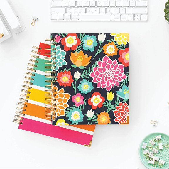 living well planner floral and striped