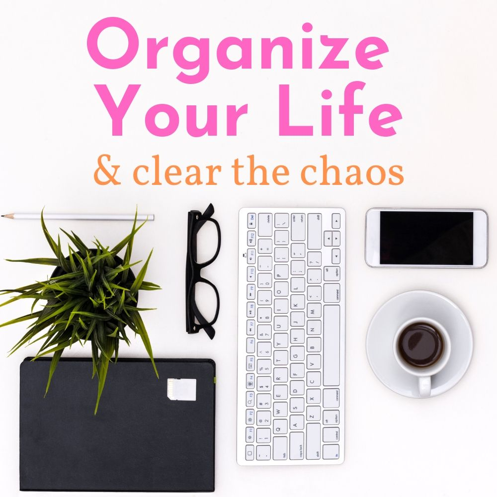 keyboard coffee phone glasses plant notebook and pencil on white background organize your life and clear the chaos