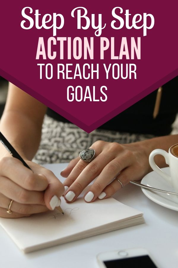 woman sitting at table write on a notepad and drinking coffee. step by step action plan to reach your goals