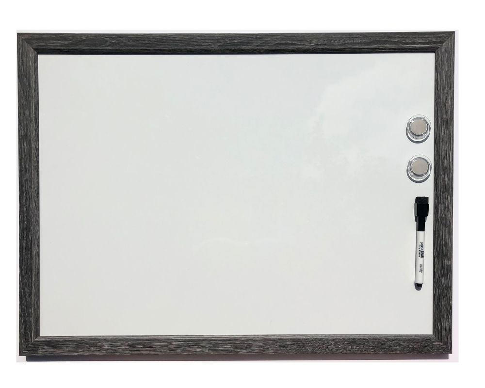 dry erase board with grey frame