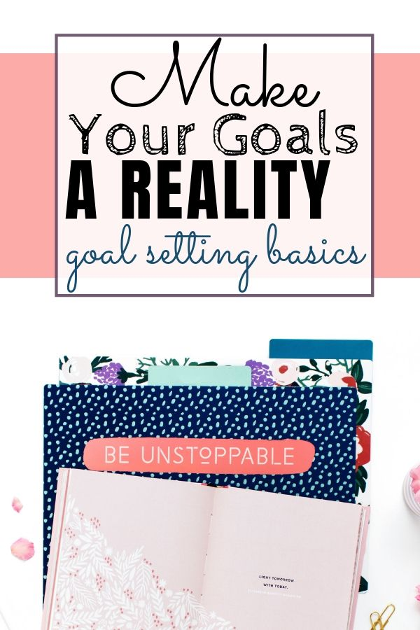 polka dot folder be unstoppable and pink book. make your goals a reality goal setting basics