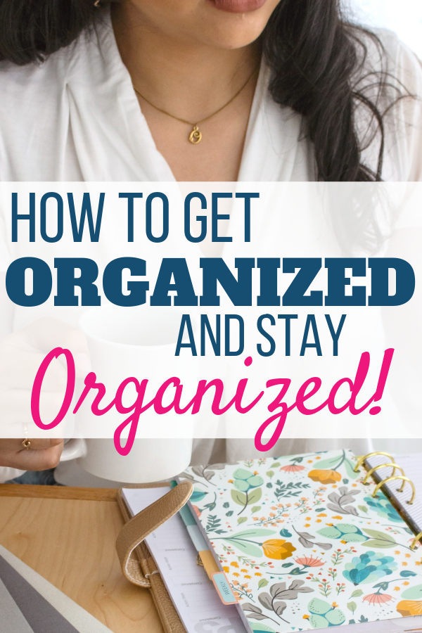 woman drinking coffee and looking at her planner. how to get organized and stay organized.