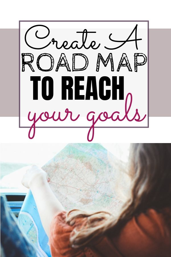 woman in car holding map. create a road map to reach your goals