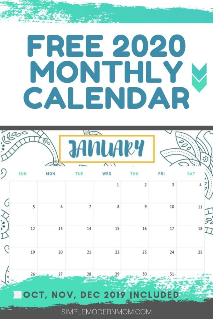 free 2020 monthly calendar blue and tal