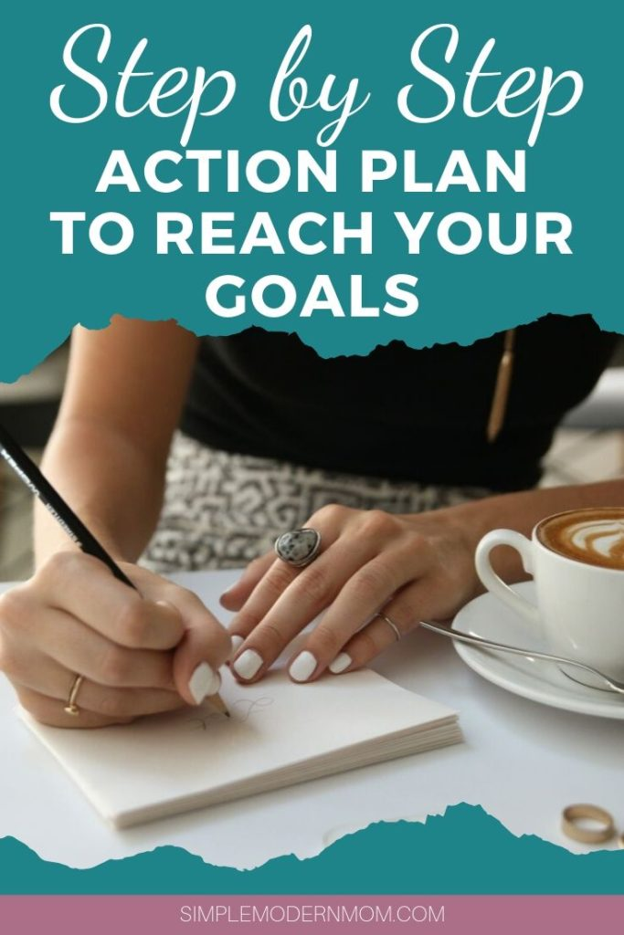woman writing a note drinking coffee; action plan to reach your goals