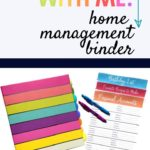 Colorful striped binder with organizing sheets and pens