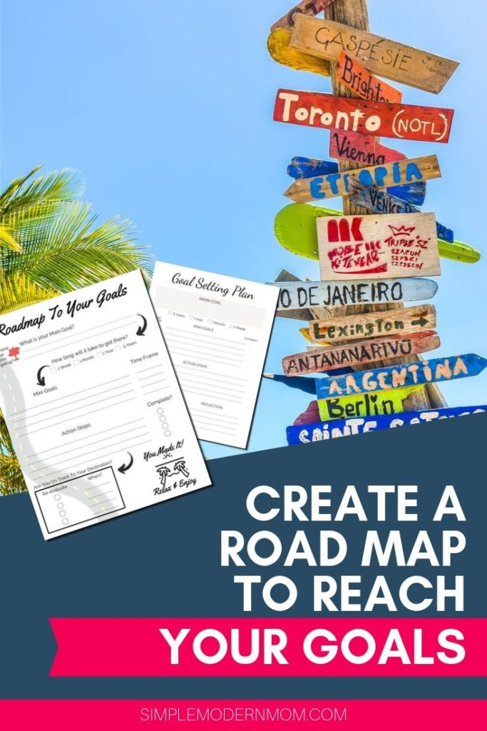 roadsigns and palm tree with blue skies; create a road map to reach your goals