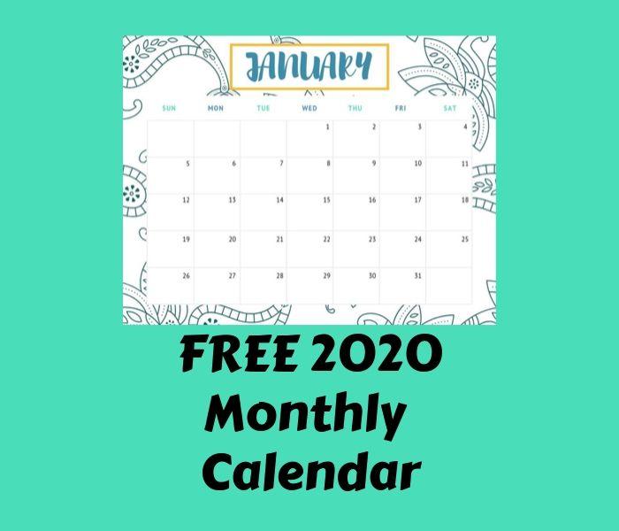 Free 2020 Monthly Calendar