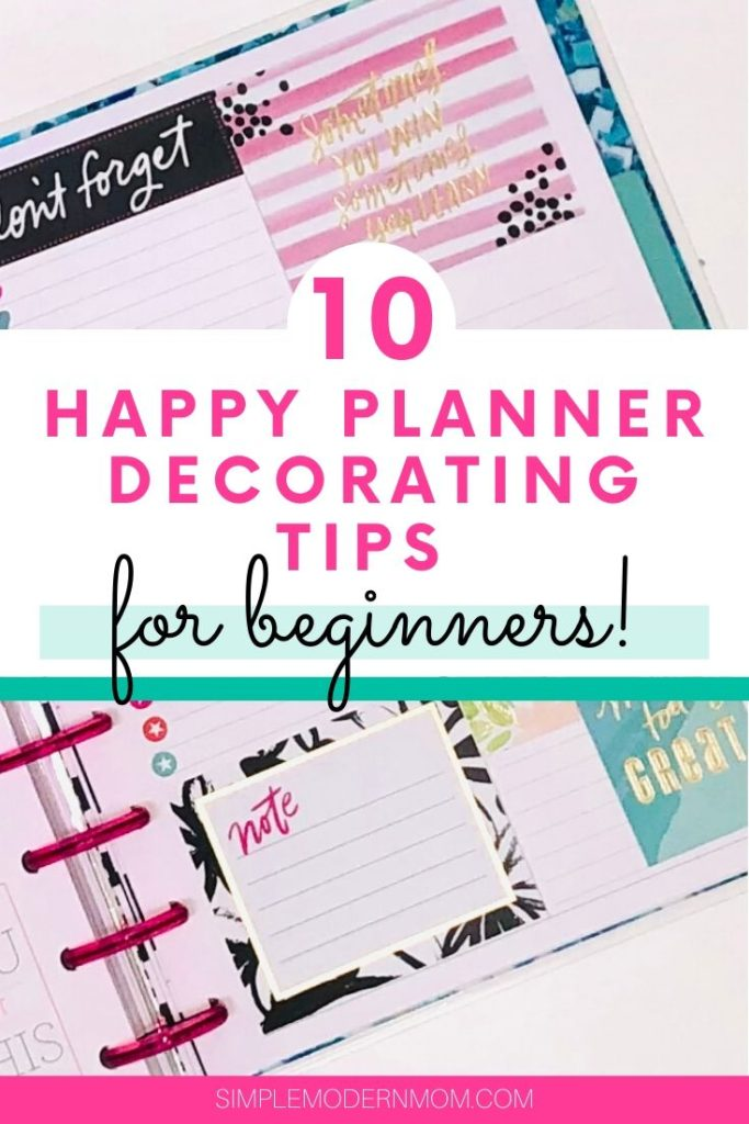 planner decorated with stickers and pink spiral; 10 happy planner decorating tips
