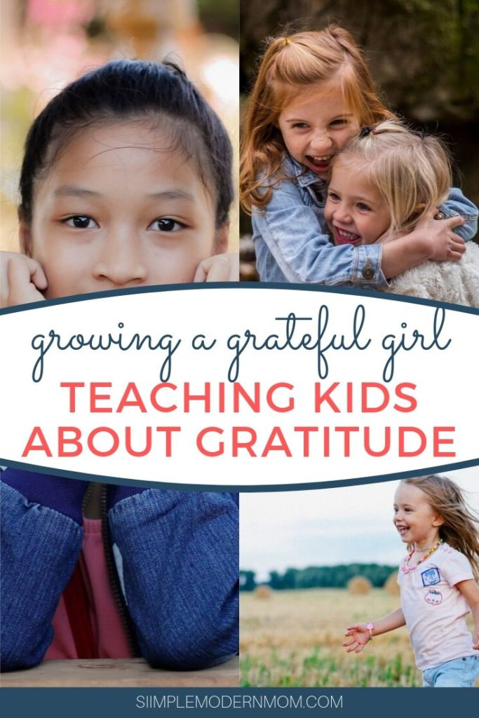 little girl running, girl holding face, two girls hugging and smiling; growing a grateful girl: teaching kids about gratitude