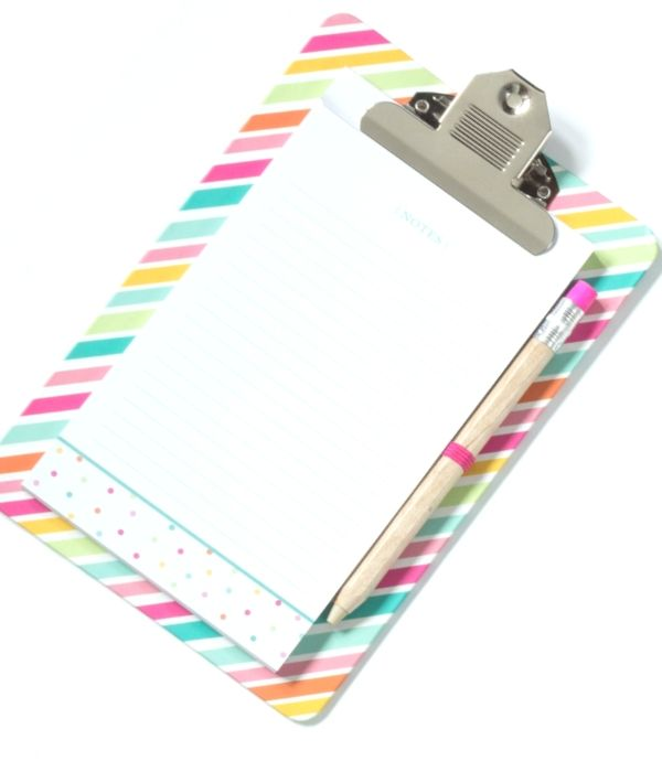 colorful striped clipboard, list and pencil; 20 useful lists to stay organized