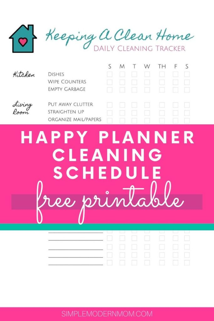 Happy Planner Cleaning Schedule Printable