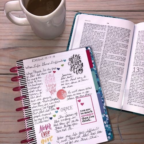 Happy Planner notes page next to an  open bible and coffee mug.