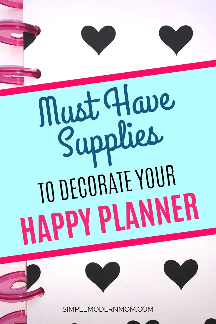 happy planner, black and white hearts, pink discs; must have supplies to decorate your happy planner