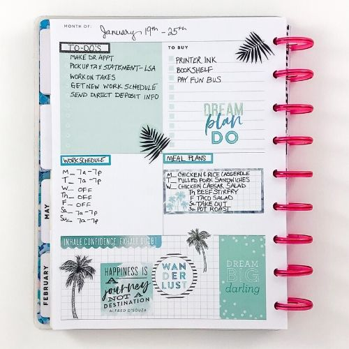 Happy Planner dashboard layout, palm trees, stickers, pink discs