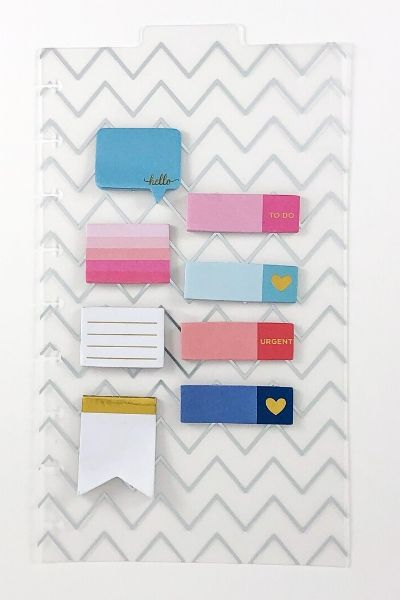 zig zag clear dashboard with tab, colorful sticky notes on top