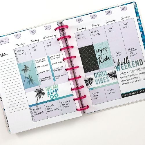 Happy Planner vertical layout, purple and teal palm trees, pink discs
