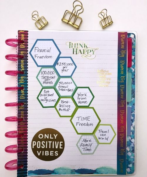 happy planner layout; hexagons, think happy, only positive vibes stickers, pink disc, gold clips