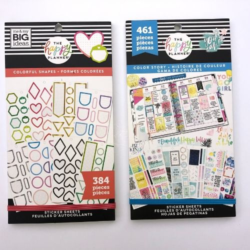 the happy planner sticker sheets, colorful shapes and color story