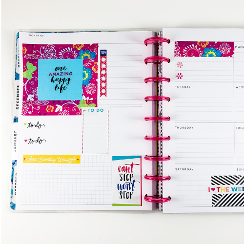 Happy Planner Dashboard layout post it and washi tape