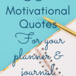 Blank notebook gold pen 50+ motivational quotes for your planner and journal