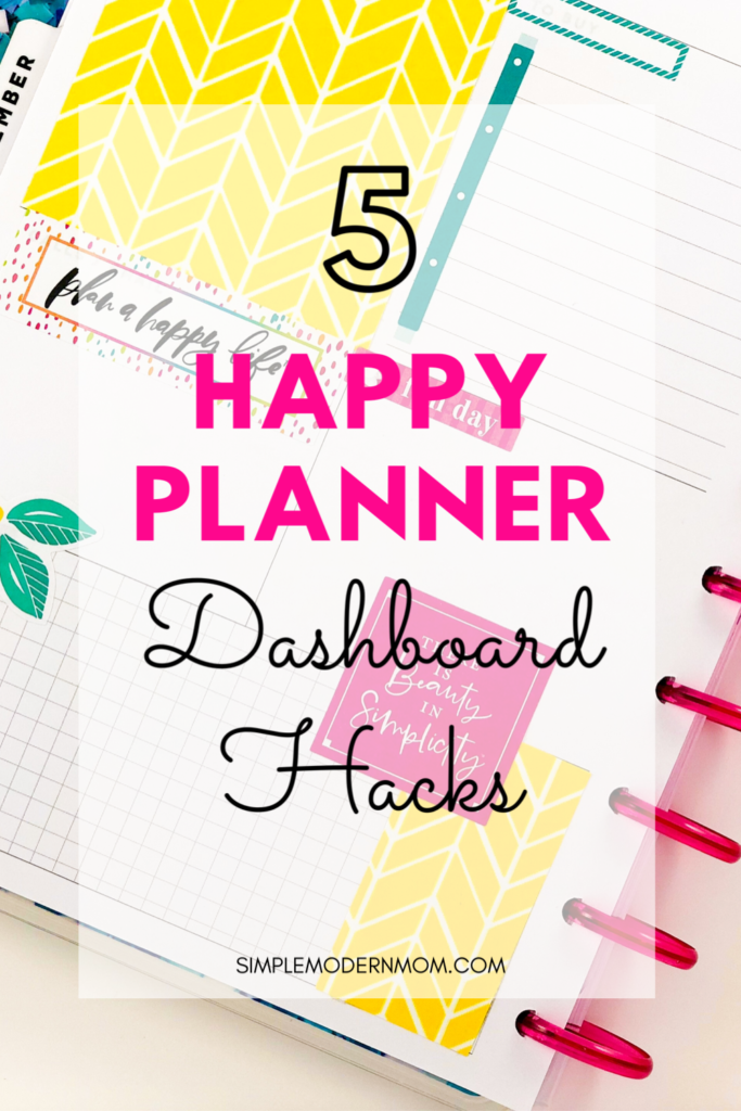 Happy planner dashboard, lemons yellow and pink, 5 happy planner dashboard hacks