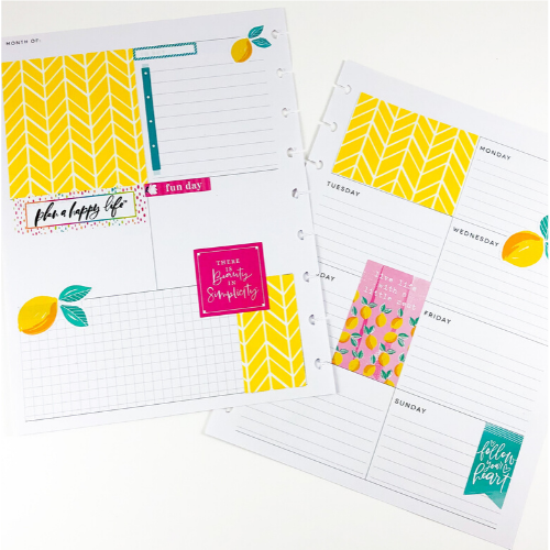 Happy Planner Dashboard layout lemons yellow and pink