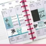 purple and mint happy planner vertical layout, pink discs