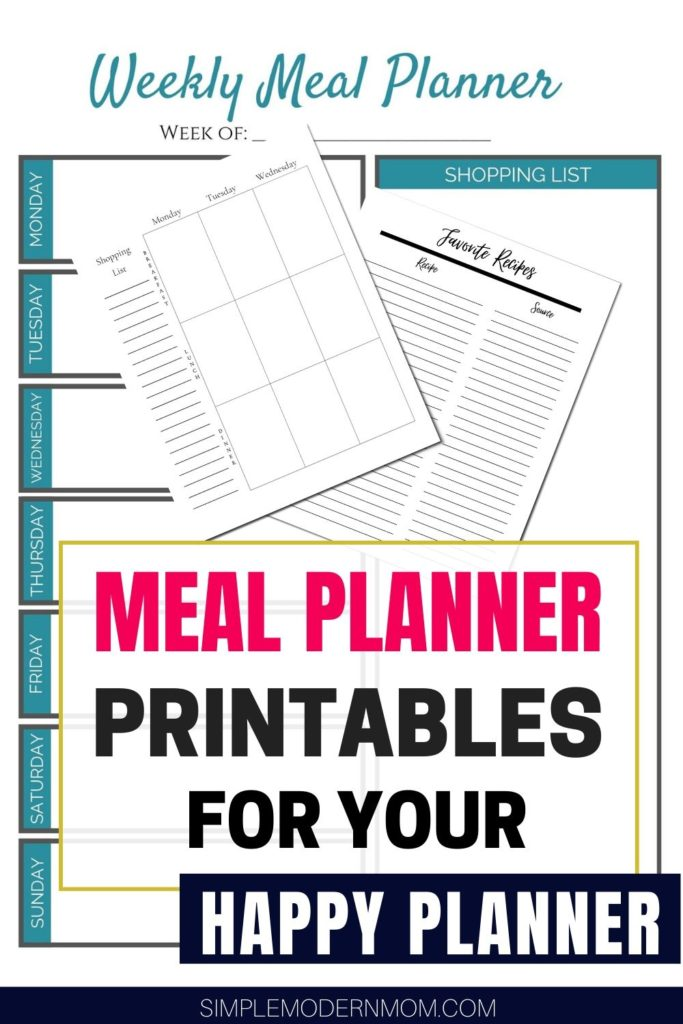 meal planner printables happy planner