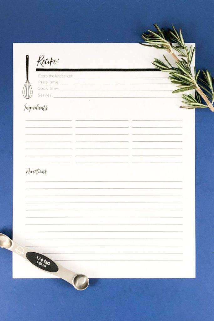 Full Page Recipe Card Printable