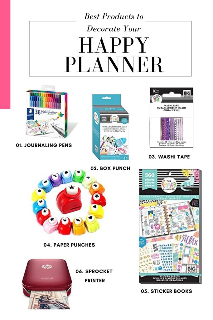 happy planner washi tape, box punch, journaling pens, paper punches, sticker books and sprocket printer