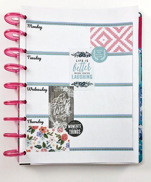 happy planner horizontal layout