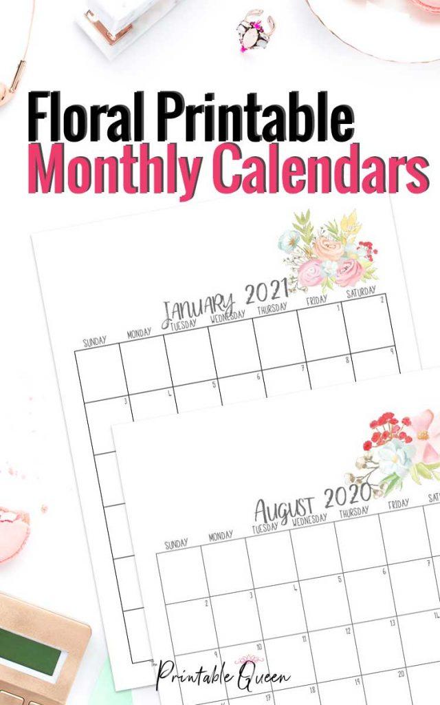 Pretty Floral Printable Monthly Calendar 2021