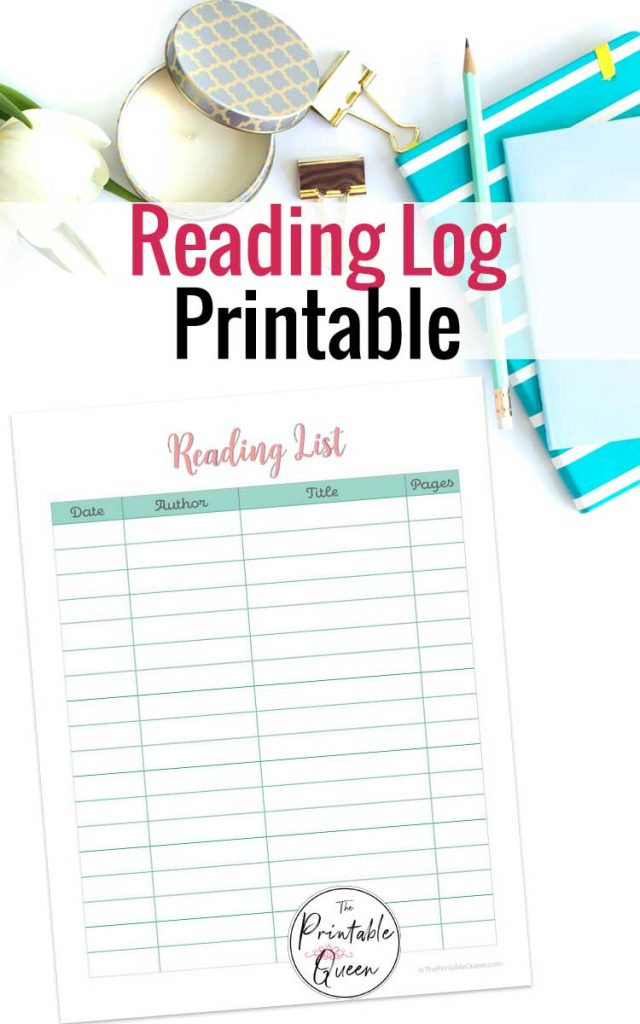 Printable Reading Log to Keep Track of the Books You Read