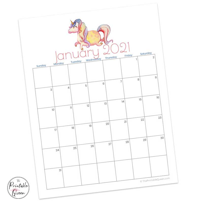 Unicorn Printable Monthly Calendar