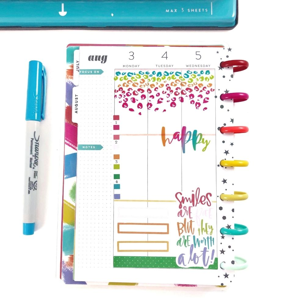 Colorful Happy Planner cheetah and stars layout, bright blue sharpie