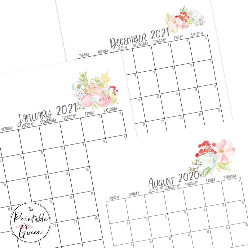 Floral printable monthly calendars
