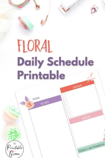 floral daily printable schedule