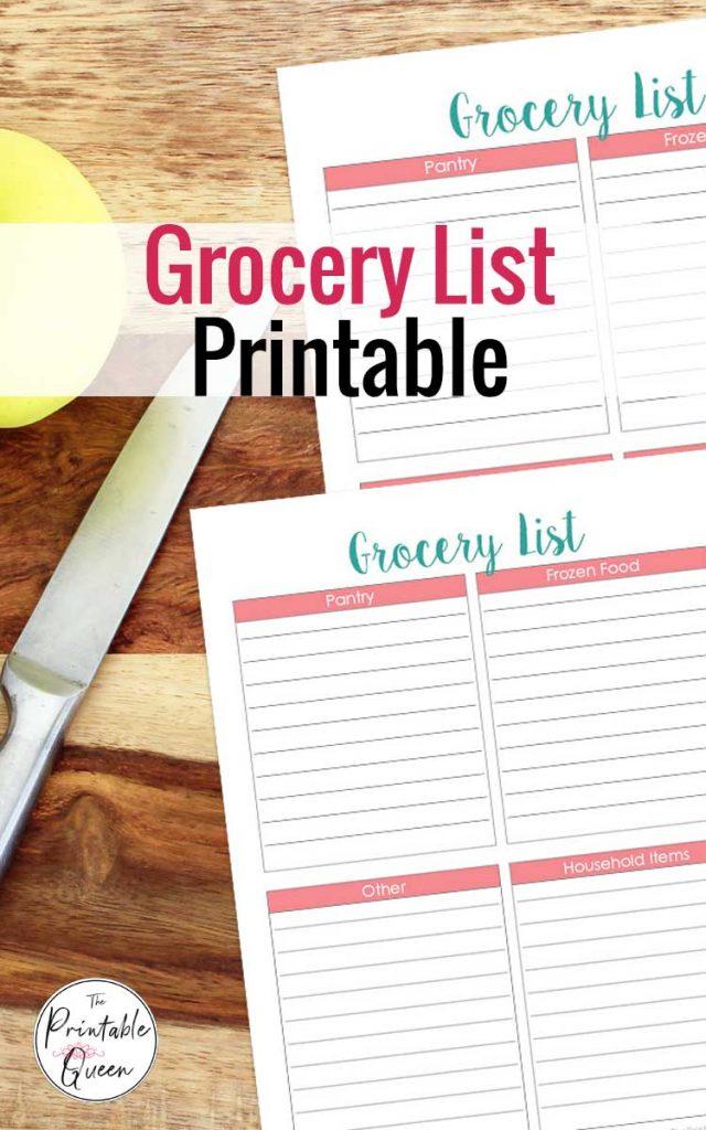 Simple Printable Grocery List
