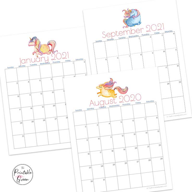 Unicorn Printable Monthly Calendar